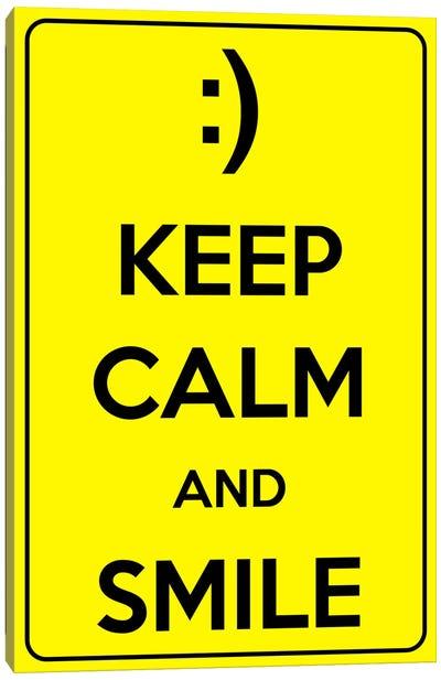 Keep Calm & Smile Canvas Print #KPC1