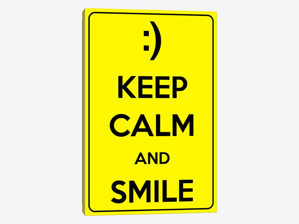 Keep Calm & Smile by Unknown Artist 1-piece Canvas Print
