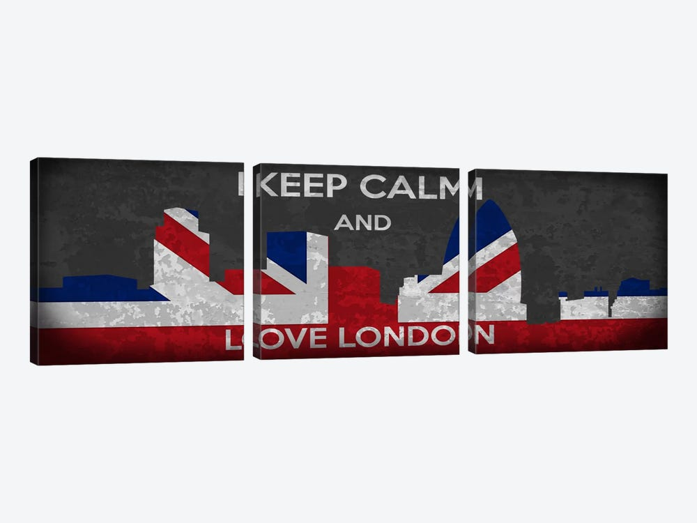 Keep Calm & Love London by Unknown Artist 3-piece Canvas Print