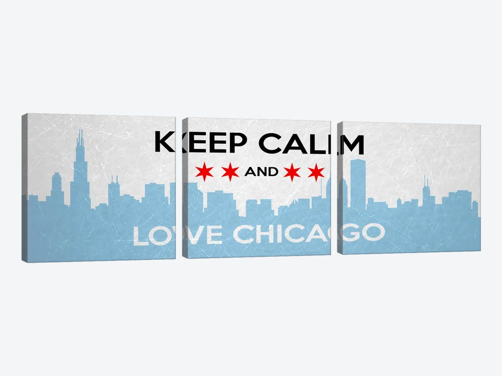 Keep Calm & Love Chicago by iCanvas 3-piece Canvas Artwork