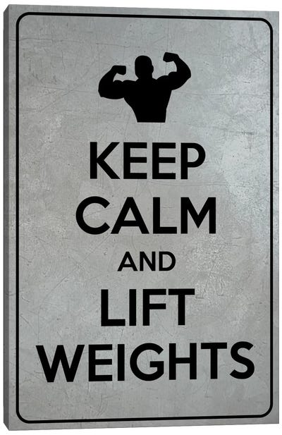 Keep Calm & Lift Weights Canvas Print #KPC52