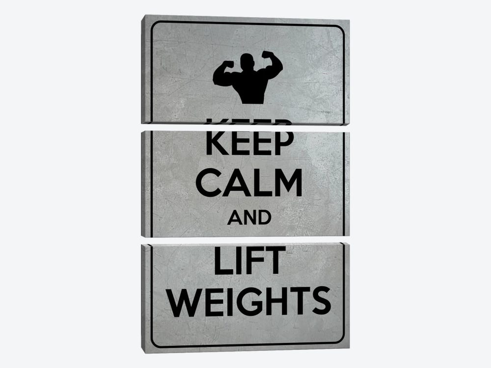 Keep Calm & Lift Weights by iCanvas 3-piece Canvas Print