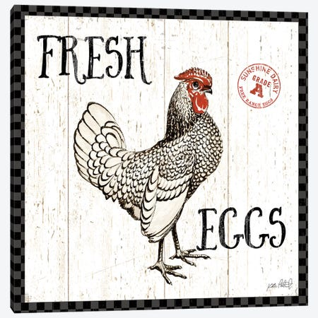 Free Range Fresh IV Checker Border Canvas Print #KPE17} by Katie Pertiet Canvas Wall Art