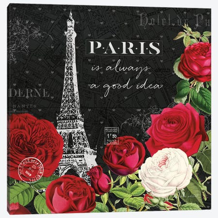 Rouge Paris II In Black Canvas Print #KPE2} by Katie Pertiet Canvas Print