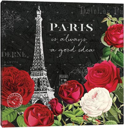 Rouge Paris II In Black Canvas Art Print