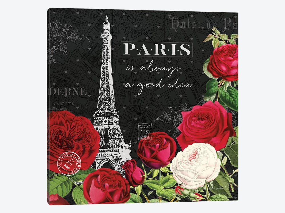 Rouge Paris II In Black 1-piece Canvas Artwork