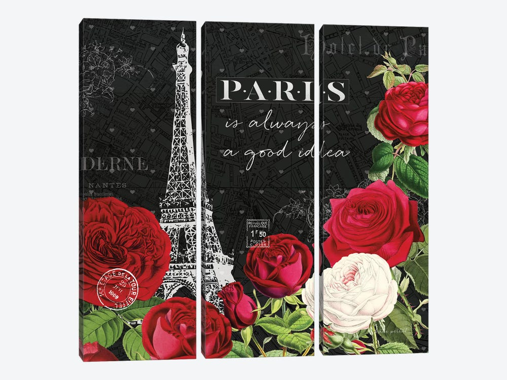 Rouge Paris II In Black by Katie Pertiet 3-piece Canvas Art