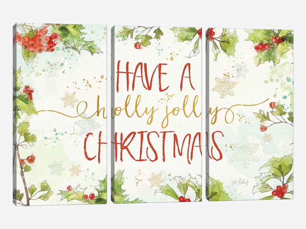 Christmas Sentiments I by Katie Pertiet 3-piece Canvas Art