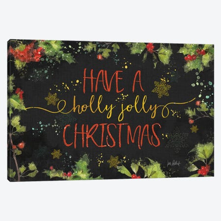 Christmas Sentiments I Black Canvas Print #KPE32} by Katie Pertiet Canvas Print