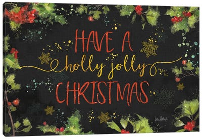 Christmas Sentiments I Black Canvas Art Print