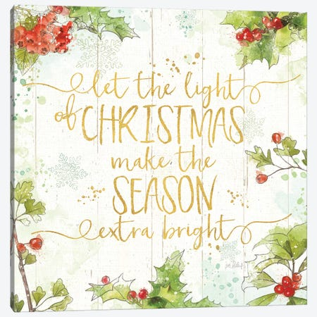Christmas Sentiments II Gold on Wood Canvas Print #KPE34} by Katie Pertiet Canvas Wall Art
