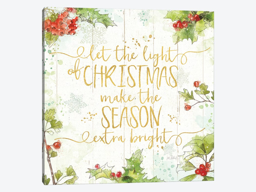 Christmas Sentiments II Gold on Wood by Katie Pertiet 1-piece Canvas Print
