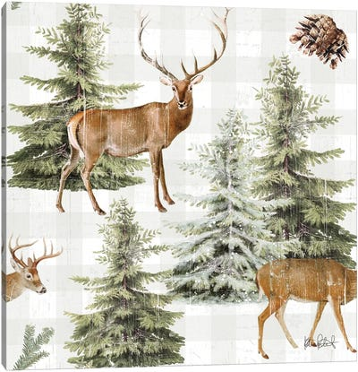 Wooded Holiday Pattern IV Canvas Art Print