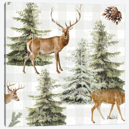Wooded Holiday Pattern IV Canvas Print #KPE45} by Katie Pertiet Canvas Art Print