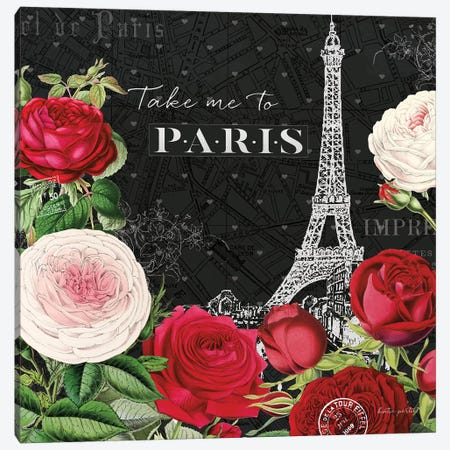 Rouge Paris III In Black Canvas Print #KPE4} by Katie Pertiet Canvas Art