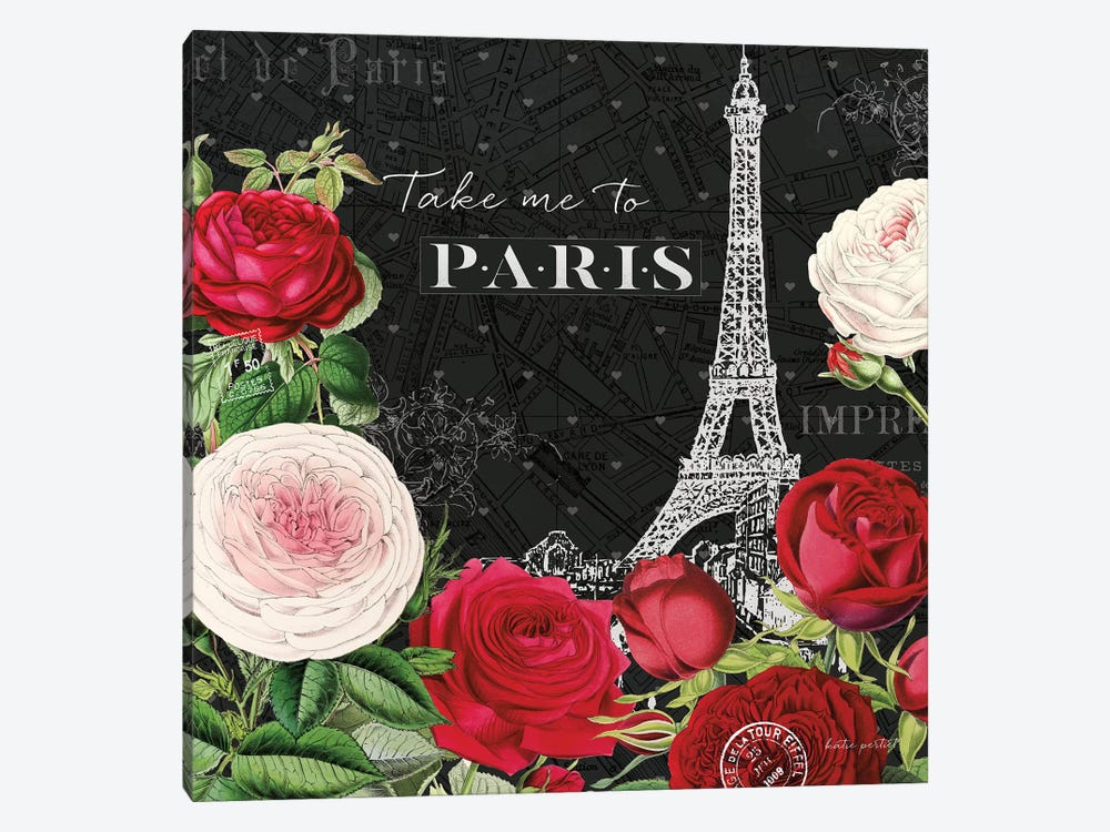 Rouge Paris III In Black 1-piece Canvas Wall Art