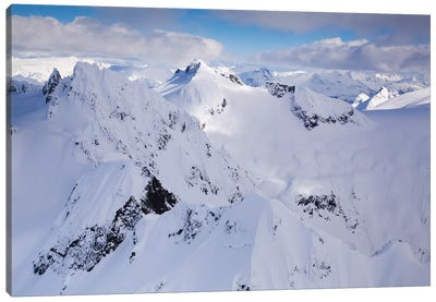 Aerial View Of Deep Snow In The Coast Mountains, Near Squamish And Whistler, British Columbia, Canada Canvas Art Print