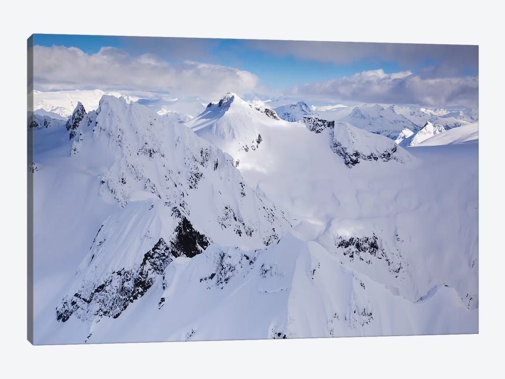 Aerial View Of Deep Snow In The Coast Mountains, Near Squamish And Whistler, British Columbia, Canada by Kristin Piljay 1-piece Canvas Art