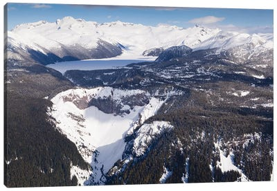 Aerial View Of Frozen Garibaldi Lake And Lava Barrier In The Foreground. Canvas Art Print