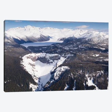 Aerial View Of Frozen Garibaldi Lake And Lava Barrier In The Foreground. Canvas Print #KPI3} by Kristin Piljay Art Print