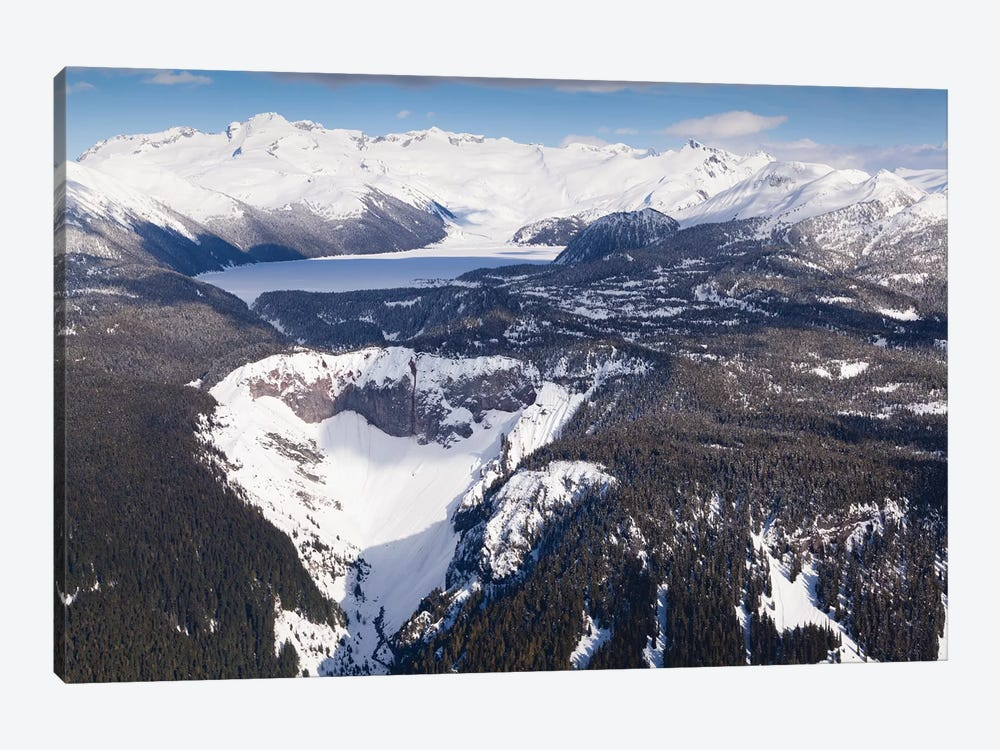 Aerial View Of Frozen Garibaldi Lake And Lava Barrier In The Foreground. by Kristin Piljay 1-piece Art Print
