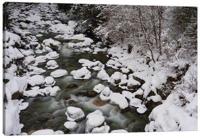 Long Exposure Of River In Winter In Squamish, British Columbia, Canada Canvas Art Print