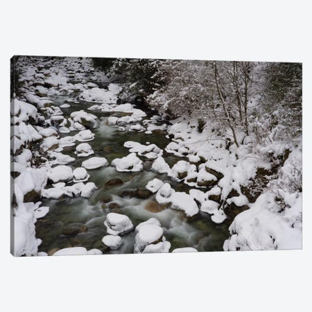 Long Exposure Of River In Winter In Squamish, British Columbia, Canada Canvas Print #KPI5} by Kristin Piljay Canvas Art
