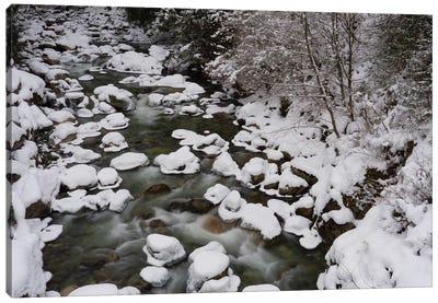 Long Exposure Of River In Winter In Squamish, British Columbia, Canada Canvas Art Print