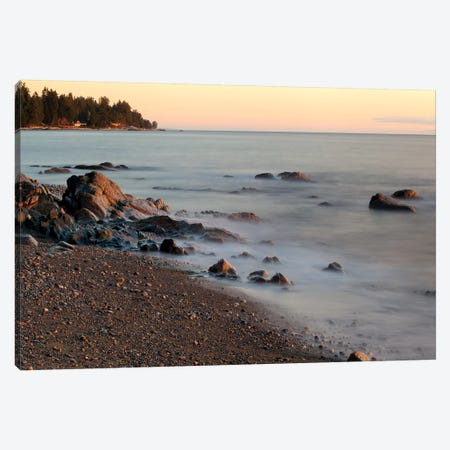 Seascape With Long Exposure At Browning Beach, Sechelt, British Columbia, Canada Canvas Print #KPI9} by Kristin Piljay Canvas Print