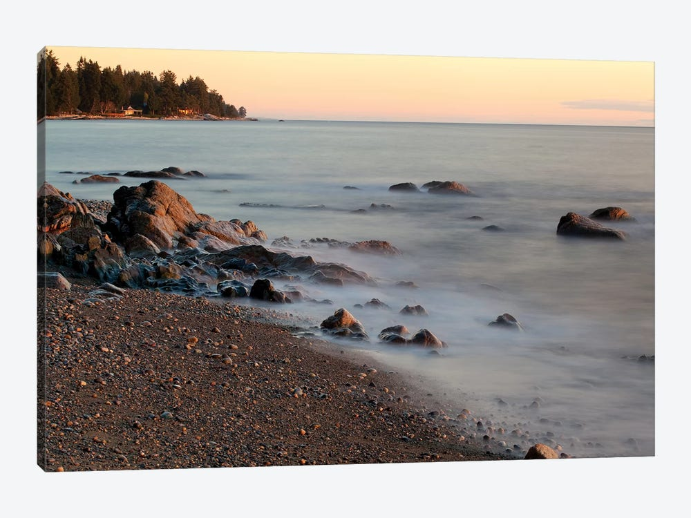 Seascape With Long Exposure At Browning Beach, Sechelt, British Columbia, Canada by Kristin Piljay 1-piece Art Print