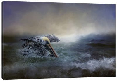 Fishing In The Storm Canvas Art Print