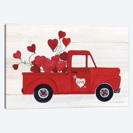 Rustic Valentine Truck Canvas Print #KPM11} by Kathleen Parr McKenna Canvas Print