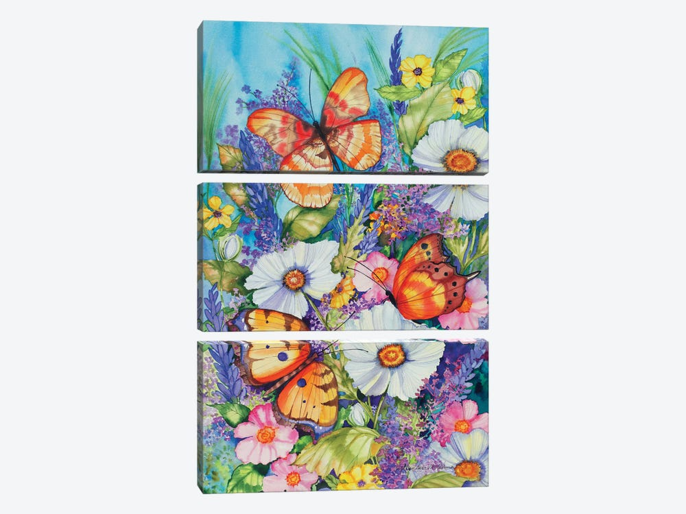 Butterfly Garden by Kathleen Parr McKenna 3-piece Canvas Art