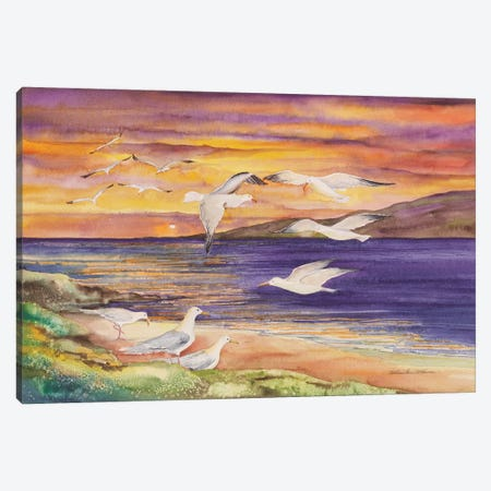 Seagull Sunset Canvas Print #KPM19} by Kathleen Parr McKenna Canvas Print
