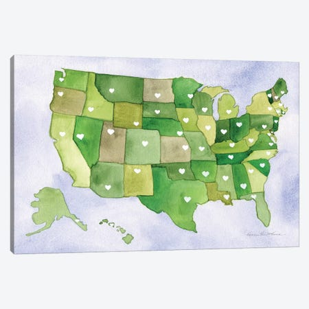 USA Capital Map Canvas Print #KPM28} by Kathleen Parr McKenna Canvas Art