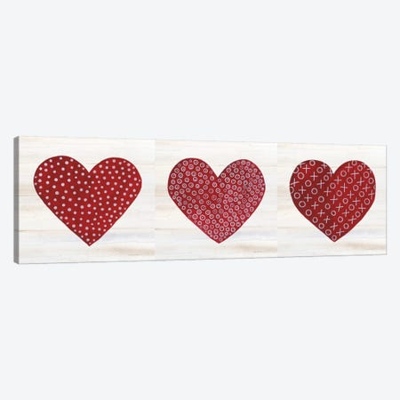 Rustic Valentine Heart Triptych Canvas Print Set #KPM3HSET001} by Kathleen Parr McKenna Canvas Wall Art