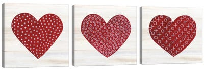 Rustic Valentine Heart Triptych Canvas Art Print