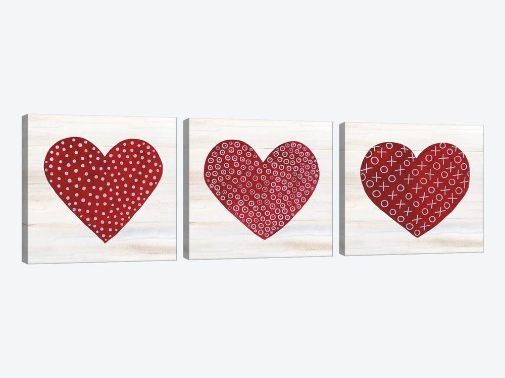 Rustic Valentine Heart Triptych by Kathleen Parr McKenna 3-piece Canvas Artwork