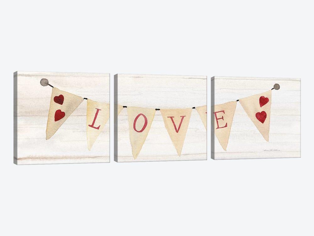 Rustic Valentine Banner II by Kathleen Parr McKenna 3-piece Art Print