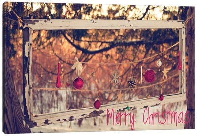 Merry Christmas Ornaments Canvas Art Print