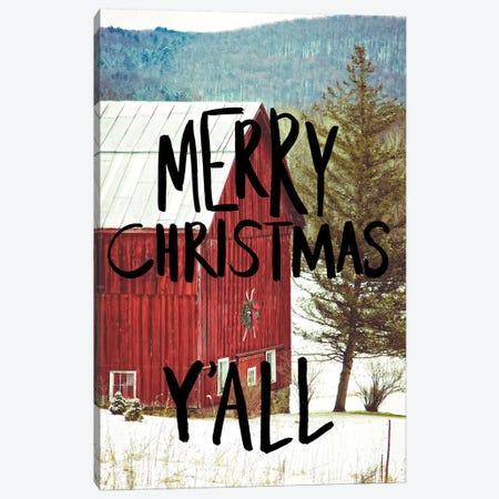 Merry Christmas Yall Black Canvas Print #KPO15} by Kelly Poynter Canvas Wall Art
