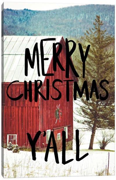 Merry Christmas Yall Black Canvas Art Print