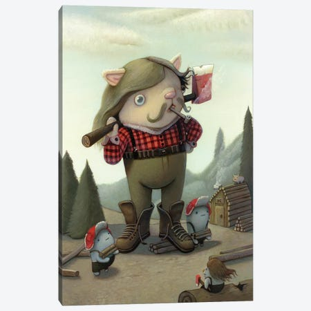 Lumberjack Canvas Print #KRA35} by Kristian Adam Art Print