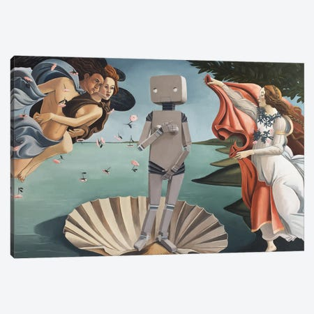 Robot-ticelli Canvas Print #KRC23} by Kris Chavez Canvas Art Print