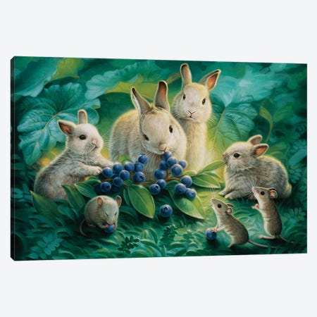 Blueberry Lunch Canvas Print #KRE12} by Kirk Reinert Canvas Artwork