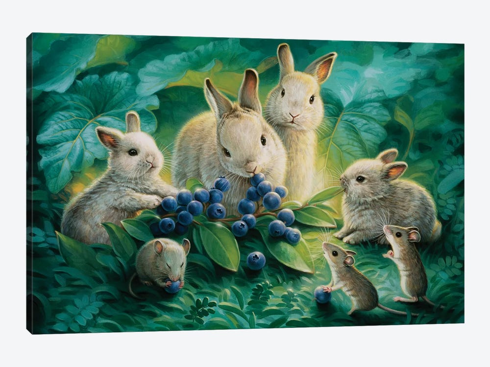 Blueberry Lunch by Kirk Reinert 1-piece Art Print