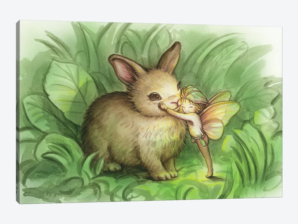 Fairy Prince With Bunny by Kirk Reinert 1-piece Canvas Wall Art