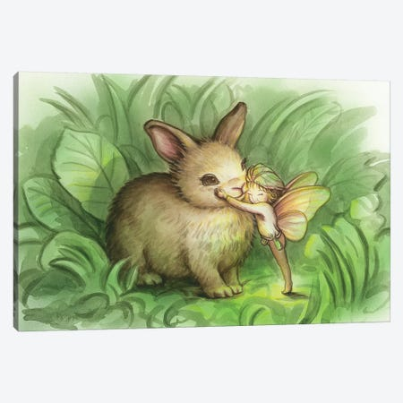 Fairy Prince With Bunny Canvas Print #KRE39} by Kirk Reinert Canvas Art