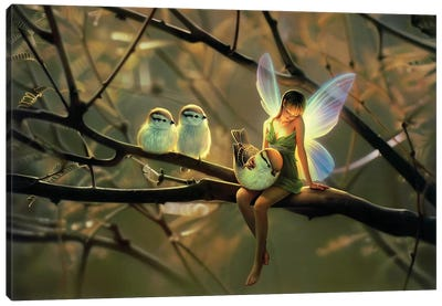 Feathered Friends, Night Canvas Art Print