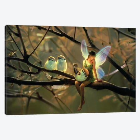 Feathered Friends, Night Canvas Print #KRE41} by Kirk Reinert Art Print